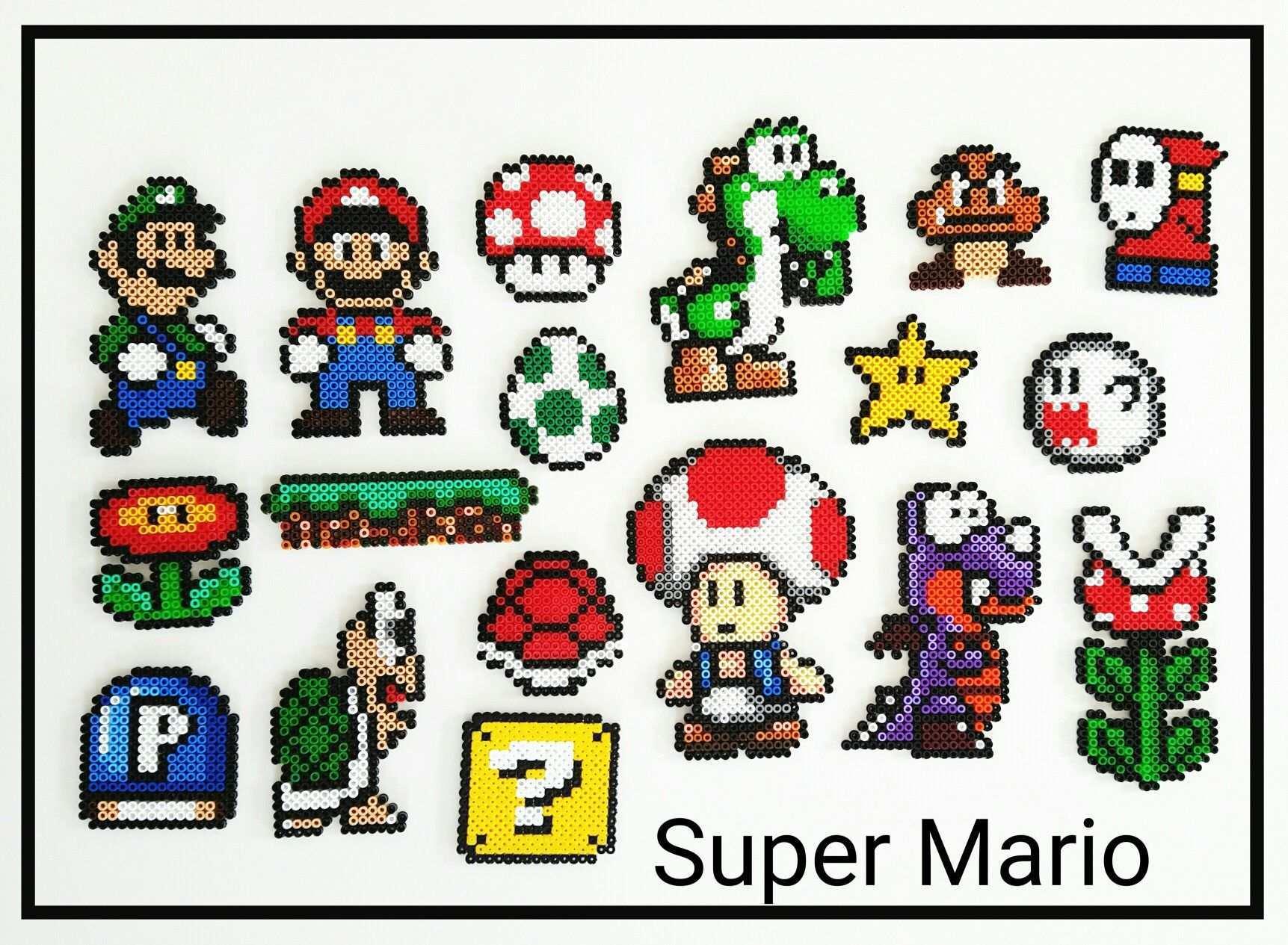Tolle Bugelperlen Charaktere Aus Super Mario Supermario Bugelperlen Hama Hamabeads Yoshi Basteln Super Mario Geschenkideen