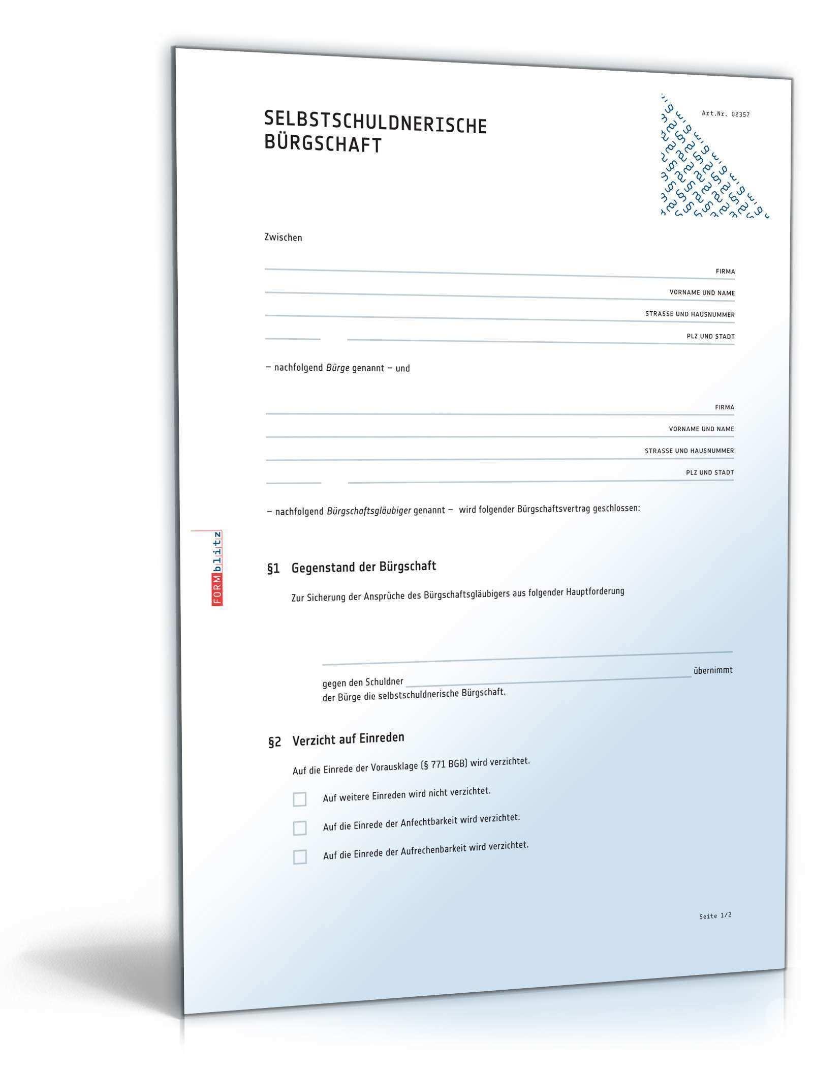 Selbstschuldnerische Burgschaft Muster Vorlage Zum Download