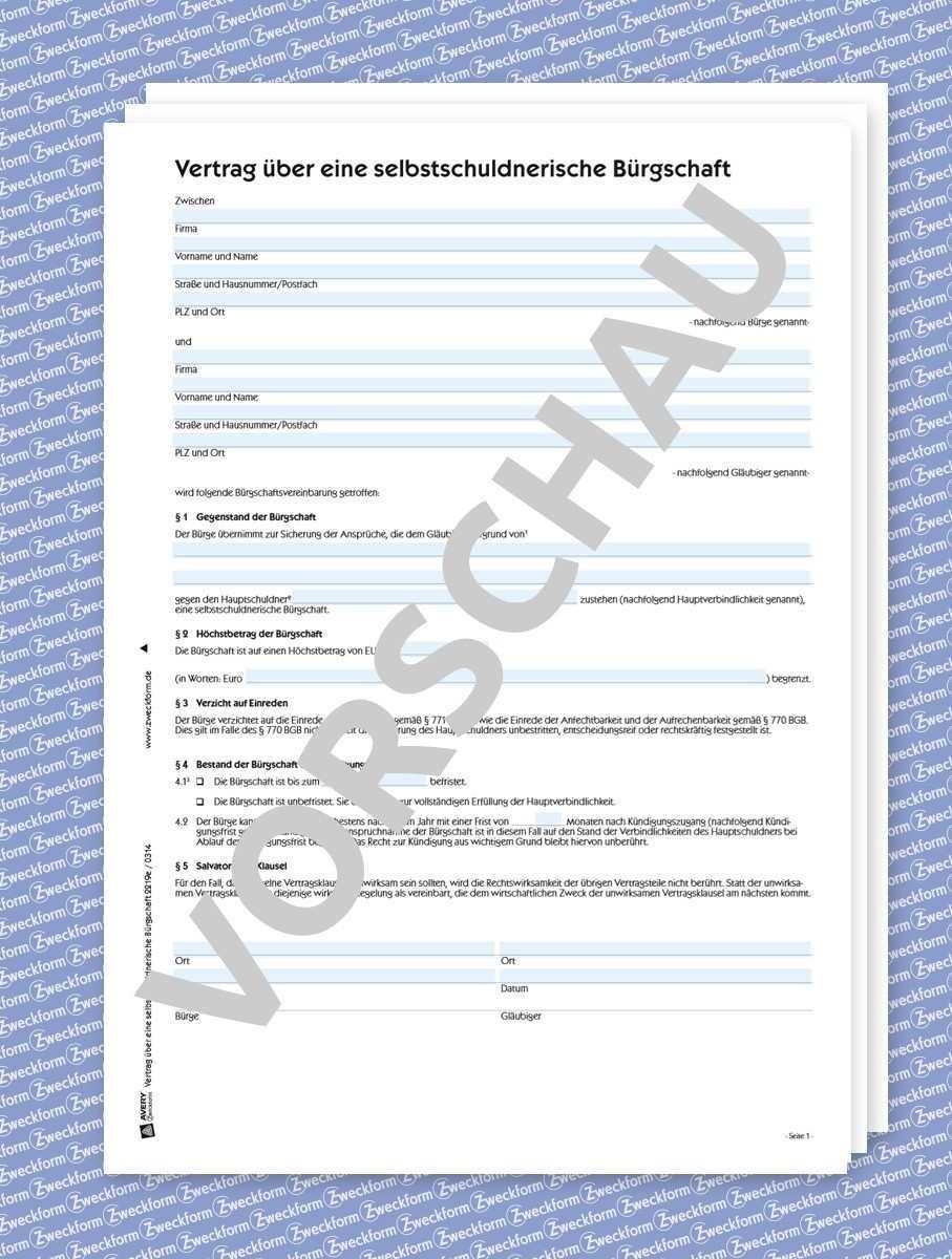 Selbstschuldnerische Burgschaft Formular Download Zweckform