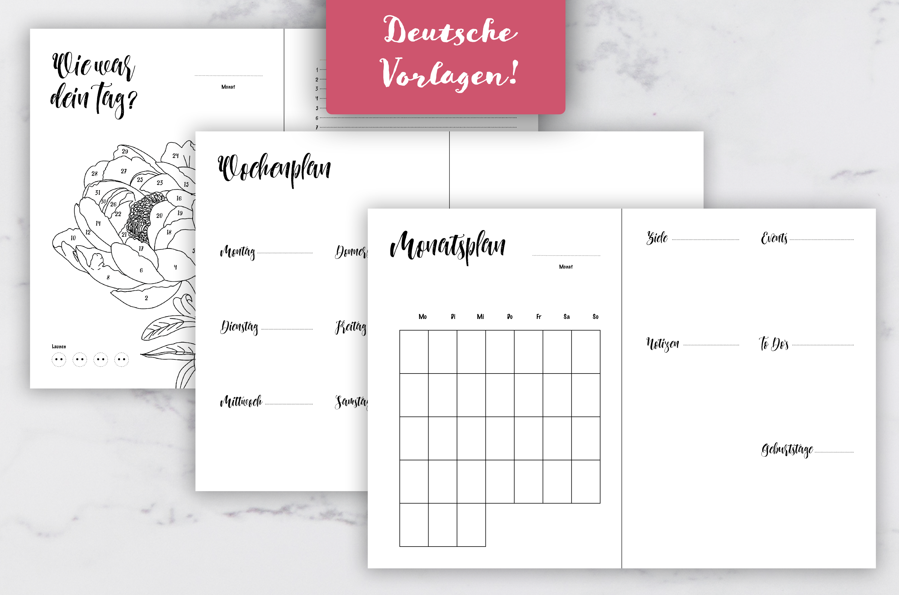 Bullet Journal Templates And Tracker In German A5 Portrait And A4 Landscape Journal Template Bullet Journal Digital Planner