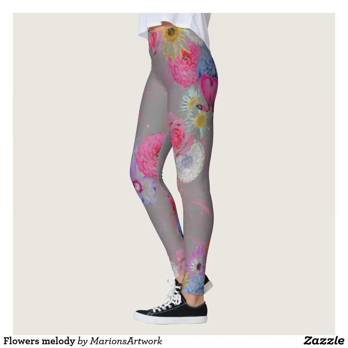 Flowers Melody Leggings Zazzle De Beste Leggings Bunte Leggings Kleidung Accessoires
