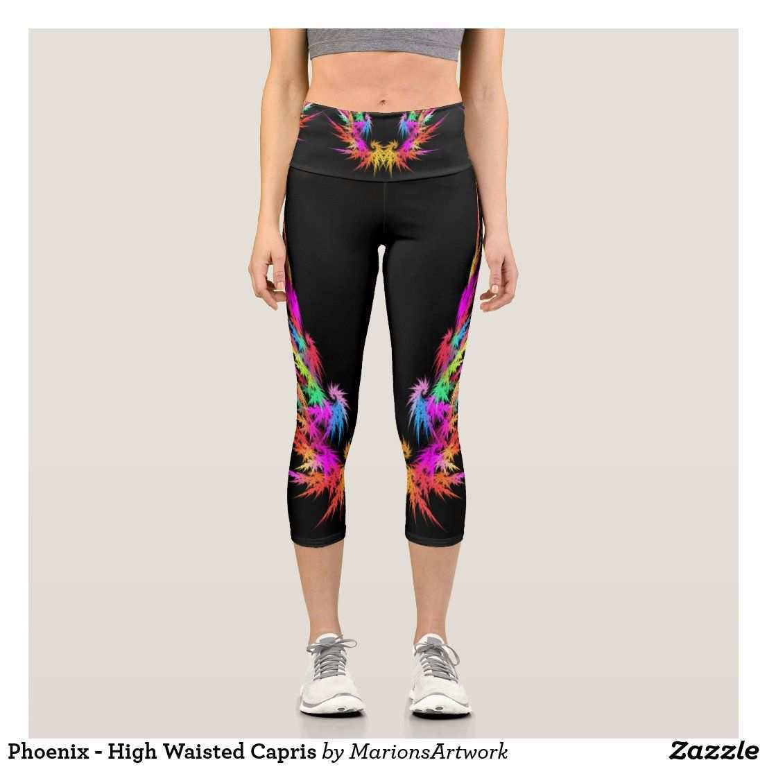 Phoenix High Waisted Capris Zazzle De In 2020 Beste Leggings Bunte Leggings Tuch