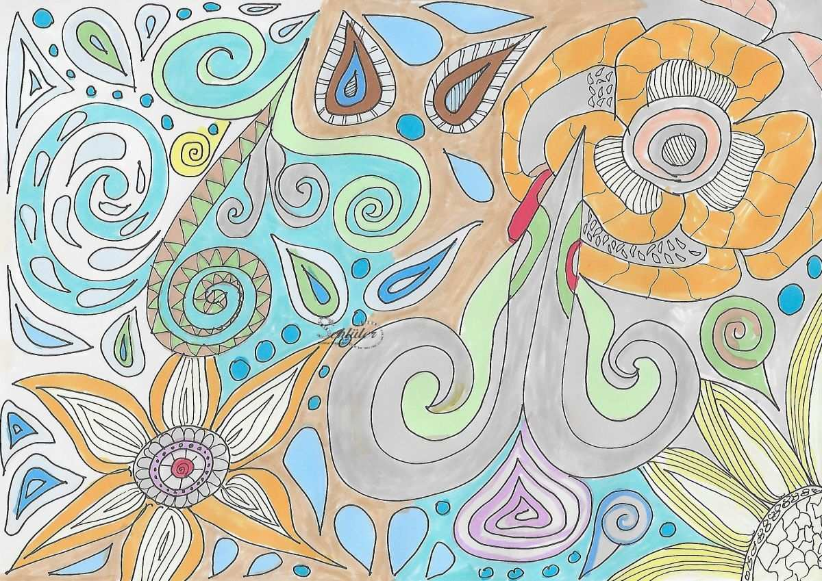 Bunte Blumen Zeichnen Bunte Blumen Blumenzeichnung Blumen Zeichnen