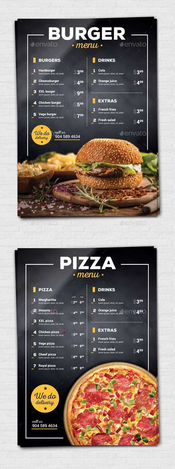 Burger Pizza Flyer Pizza Menu Design Food Menu Design Restaurant Menu Design