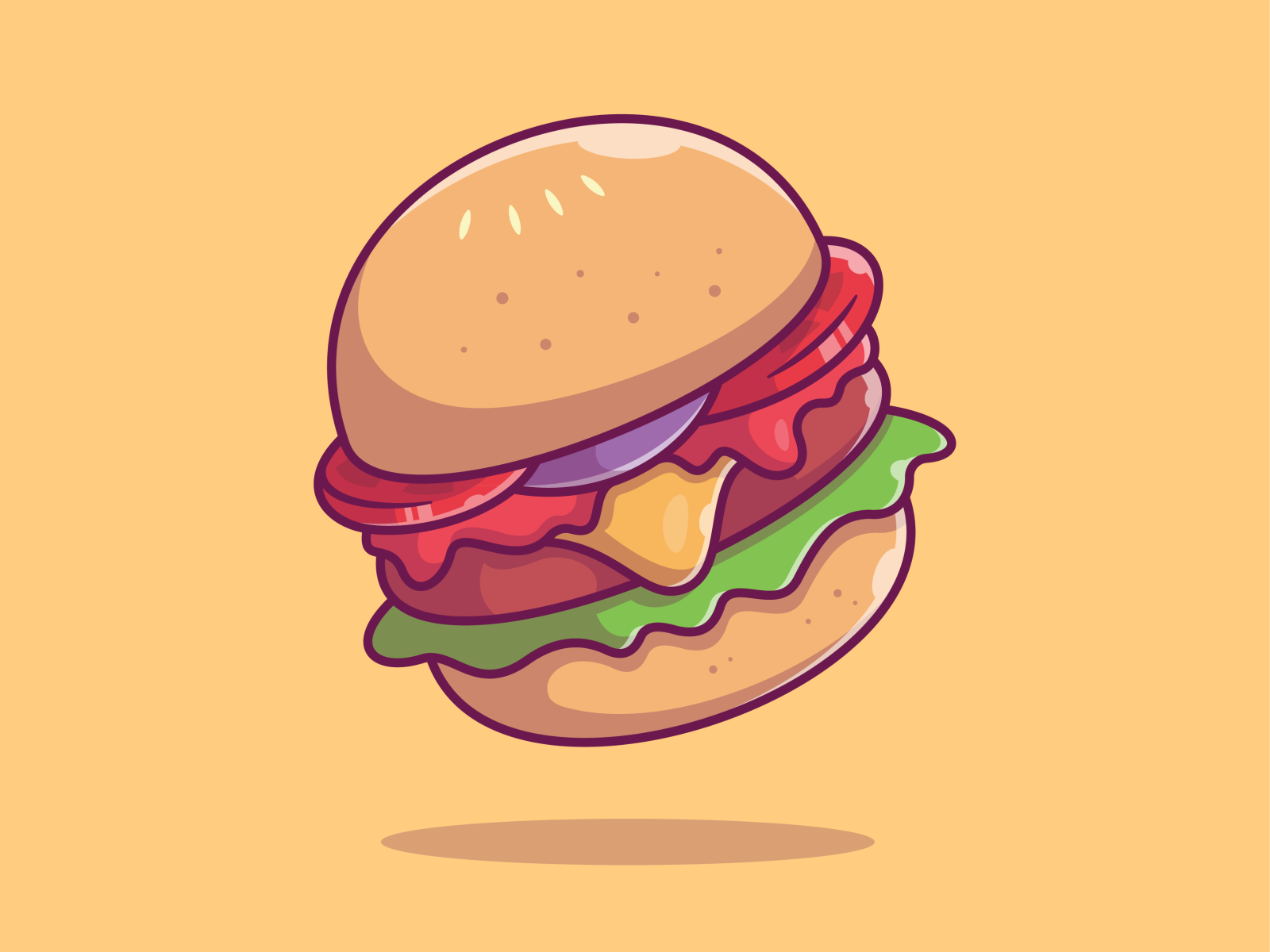 Flying Fast Food Burger Icon Fast Food Food Icons