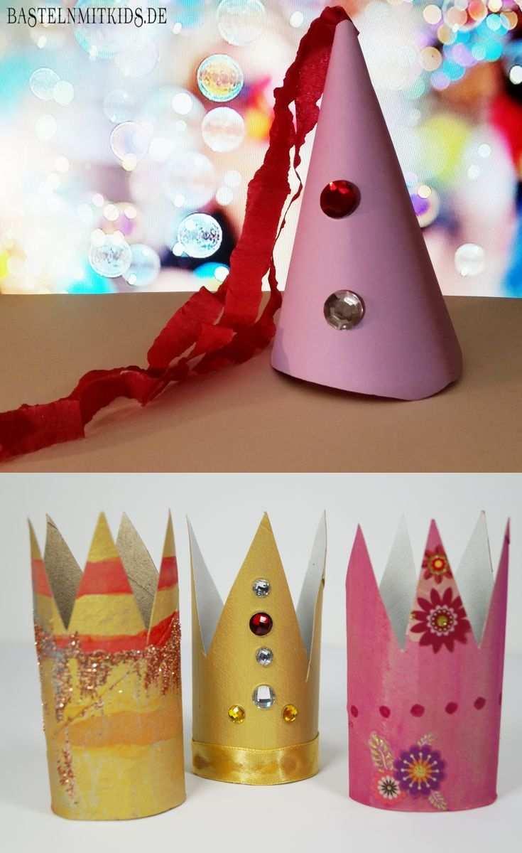 Eine Krone Oder Einen Party Hut Schnell Mit Kindern Basteln Krone Basteln Geschenke Basteln Marchen Basteln