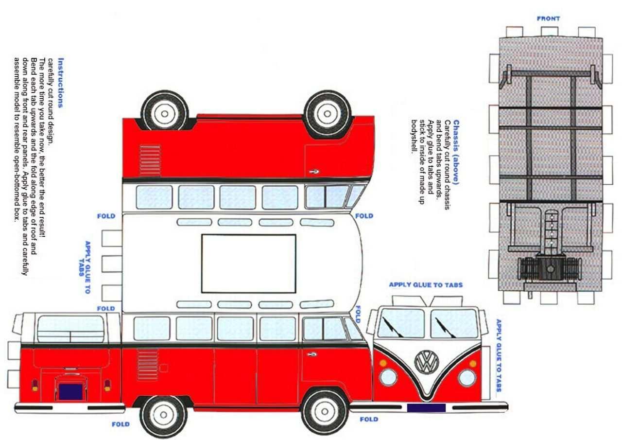 Vw Bus Papieren Modellen Aluminium Knutselen Busje