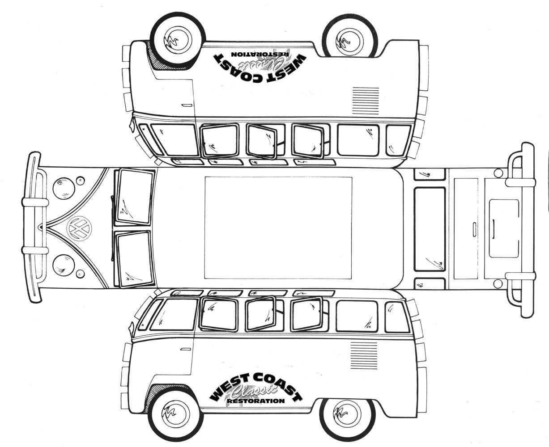 Vw Bus Memorabilia Vw Memorabilia Paper Template Bus Crafts Vw Bus Printable
