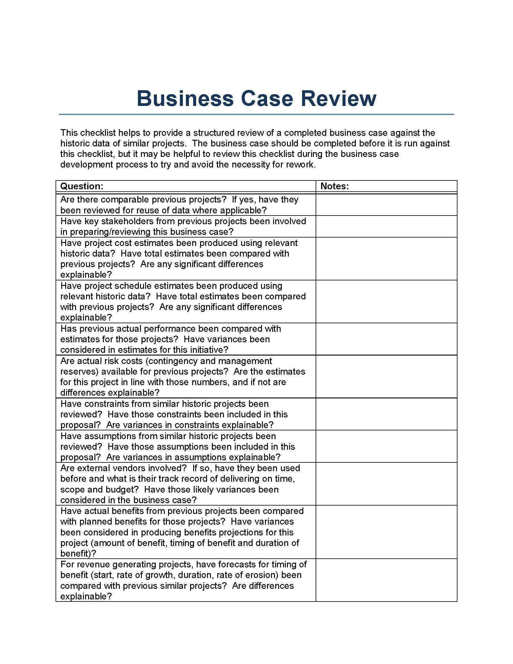 Business Case Review Template From A Perspective Of Historically Similar Projects Business Case Template Business Plan Template Startup Business Plan Template