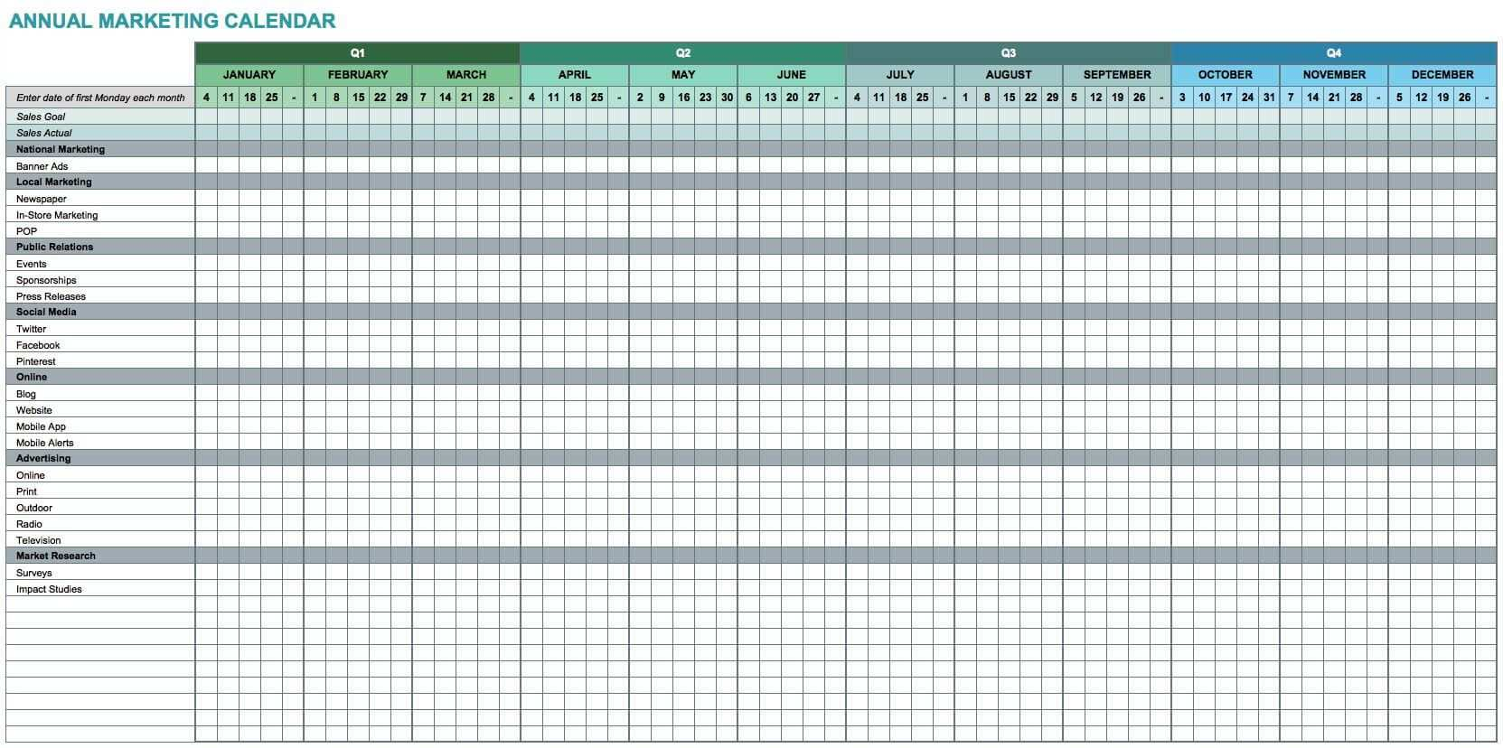 7 Free Excel Templates For Marketers Entreresource Com Marketing Calendar Template Excel Calendar Template Marketing Calendar
