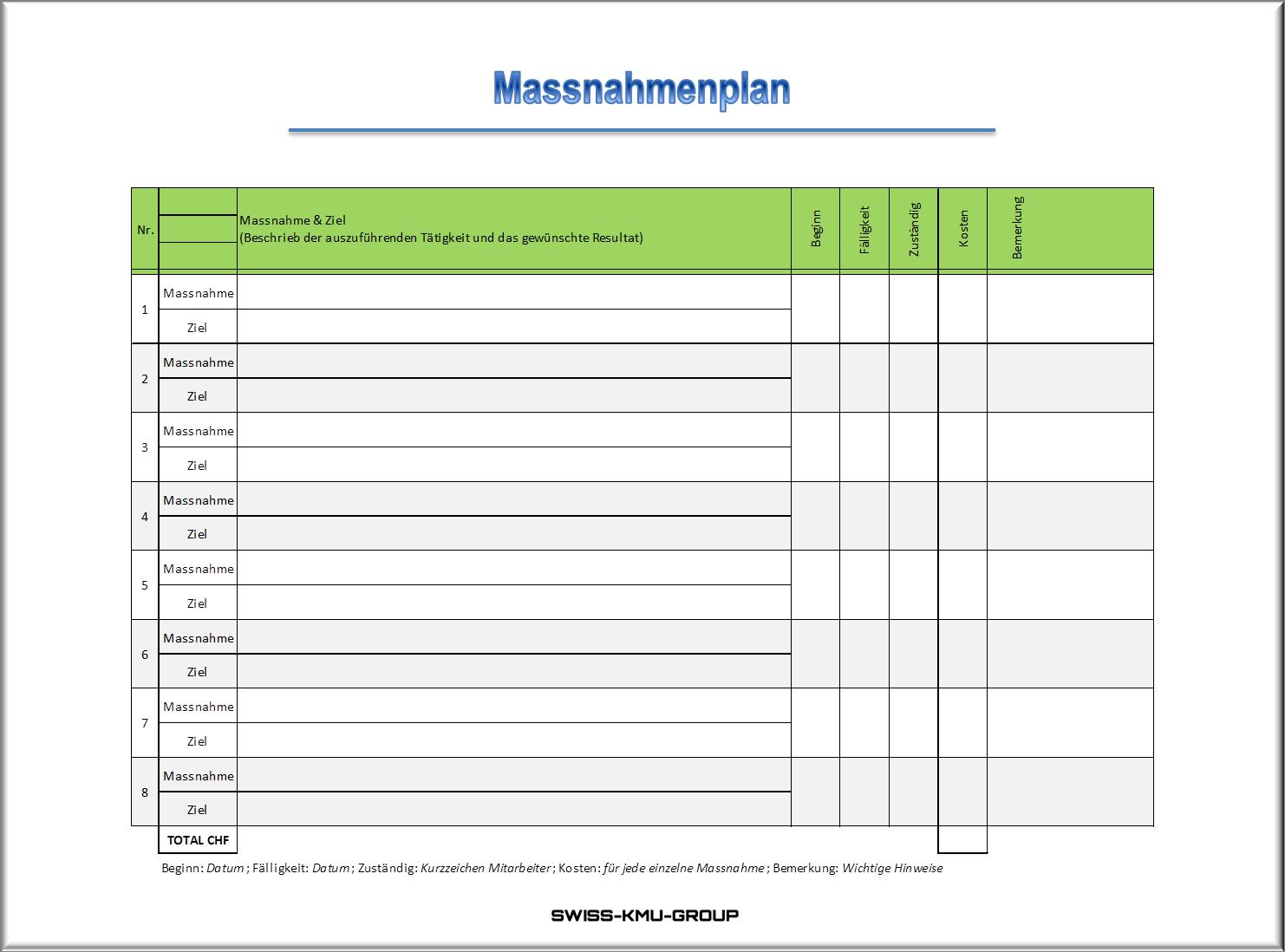Businessplan Online Ch Massnahmenplan Beispiel 1 Planer Businessplan App