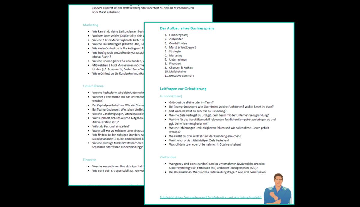 Businessplan Vorlage Und Beispiele Kostenfrei