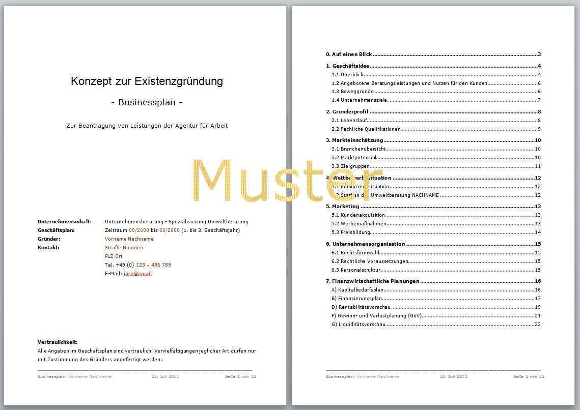 Erstellung Business Plan Vorlagen