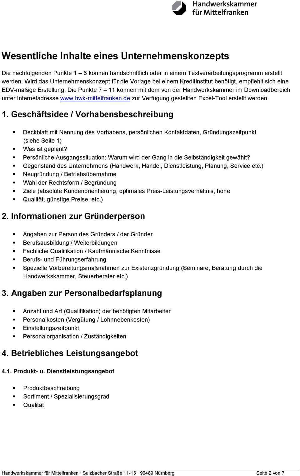 Unternehmenskonzept Business Plan Pdf Free Download