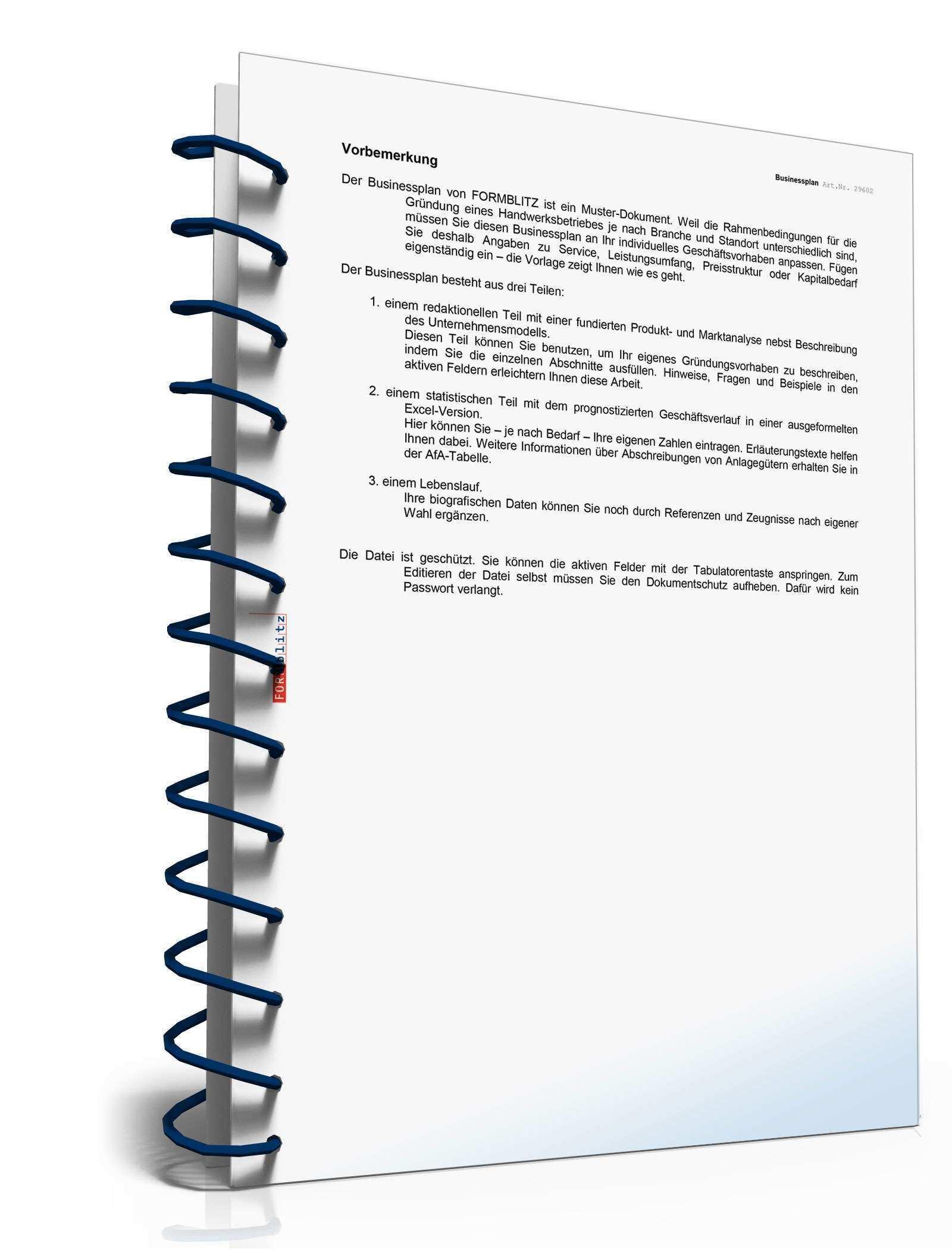 Businessplan Handwerk Muster Aus Profihand Zum Download