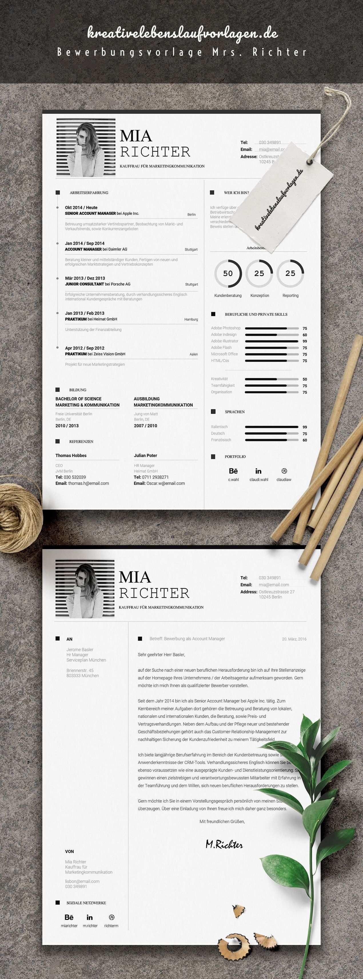 Mrs Richter Lebenslaufvorlagen Bewerbungsvorlagen Lebenslauf Anschreiben Design Bewerbung Layout