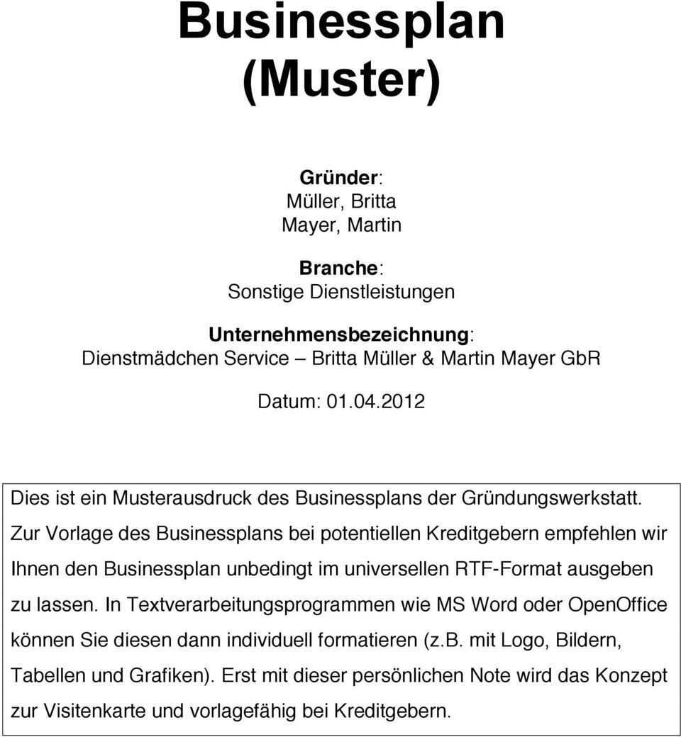 Businessplan Muster Pdf