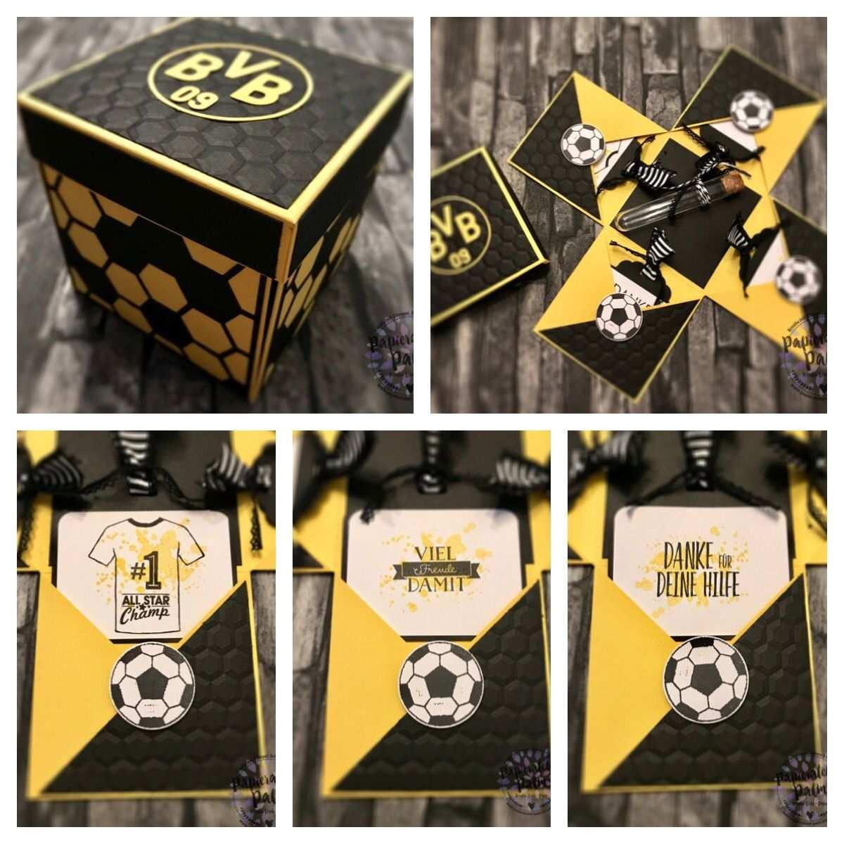 Stampin Up Explosionsbox Bvb Fussball Geschenkideen Explosionsbox Geschenke Basteln