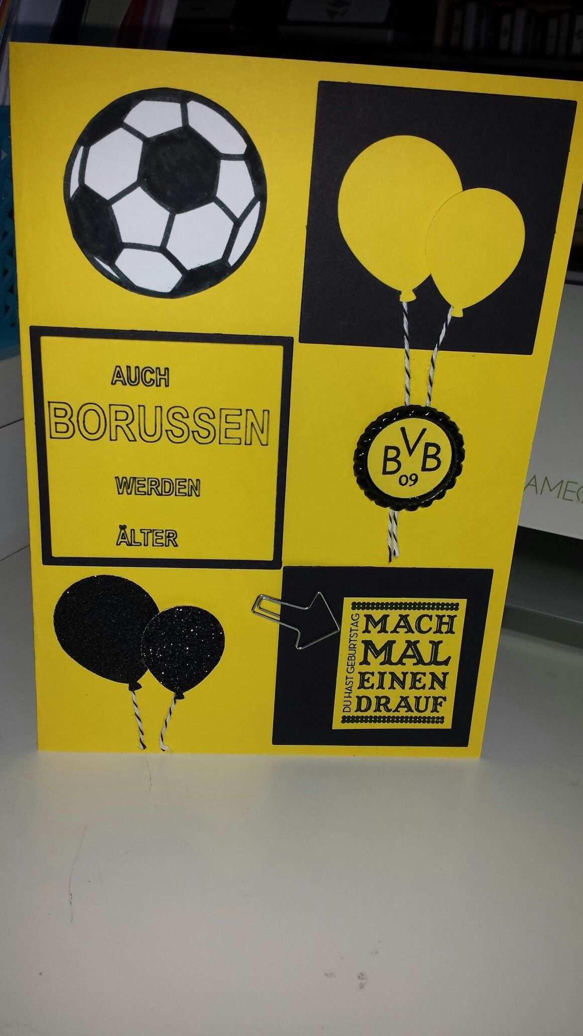 Fur Einen Bvb Fan Foto Umsetzung Meinst Bvb Geschenk Karten Basteln Bvb Karten