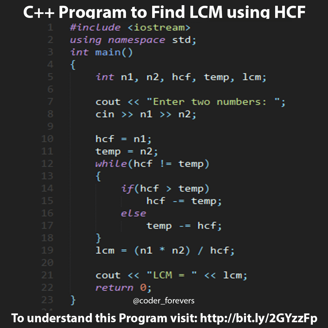 C Program To Find Lcm Using Hcf Programming Humor Computer Programming Programming Tutorial