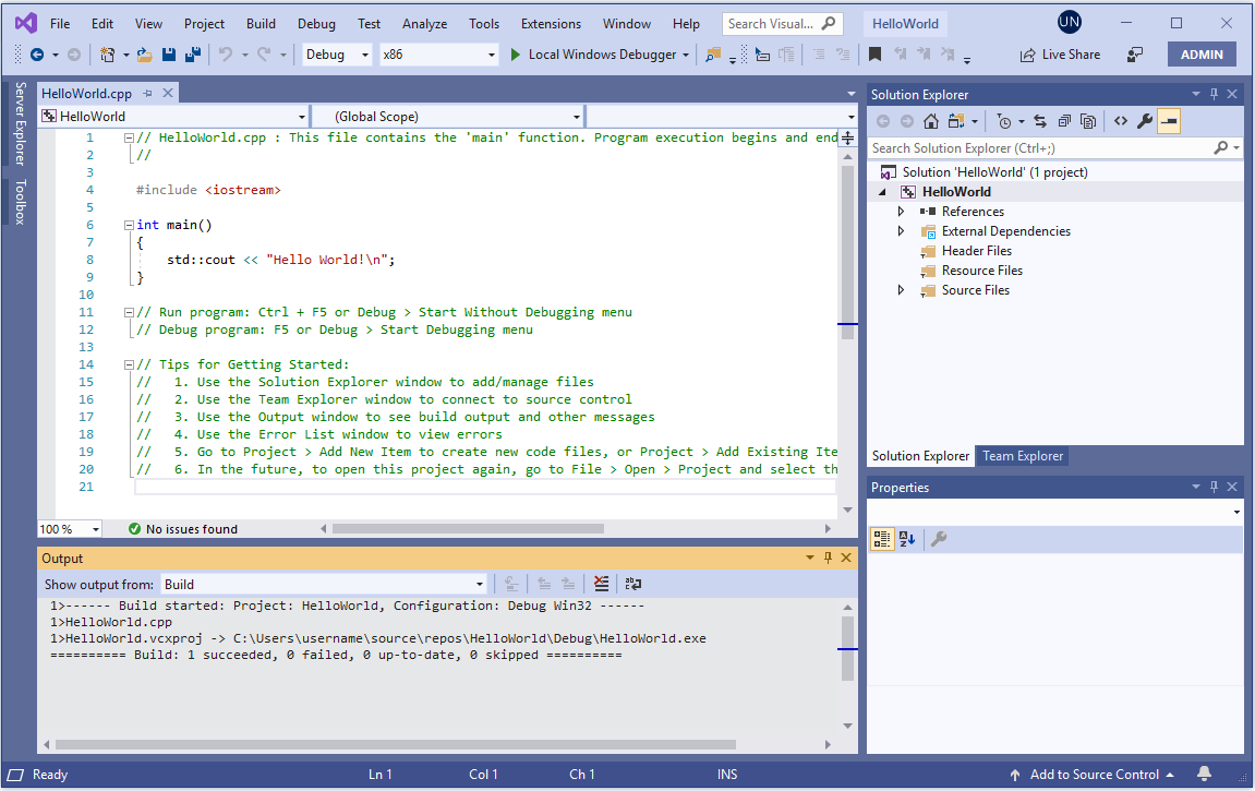 Create A C Console App Project Microsoft Docs