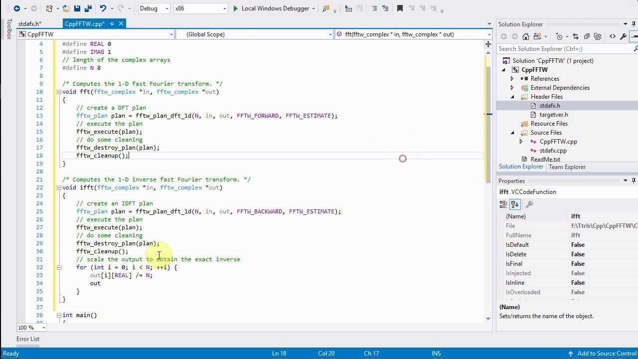 C Tutorial 1 D Fft And Ifft With The Fftw Library And Visual Studio On Windows Youtube