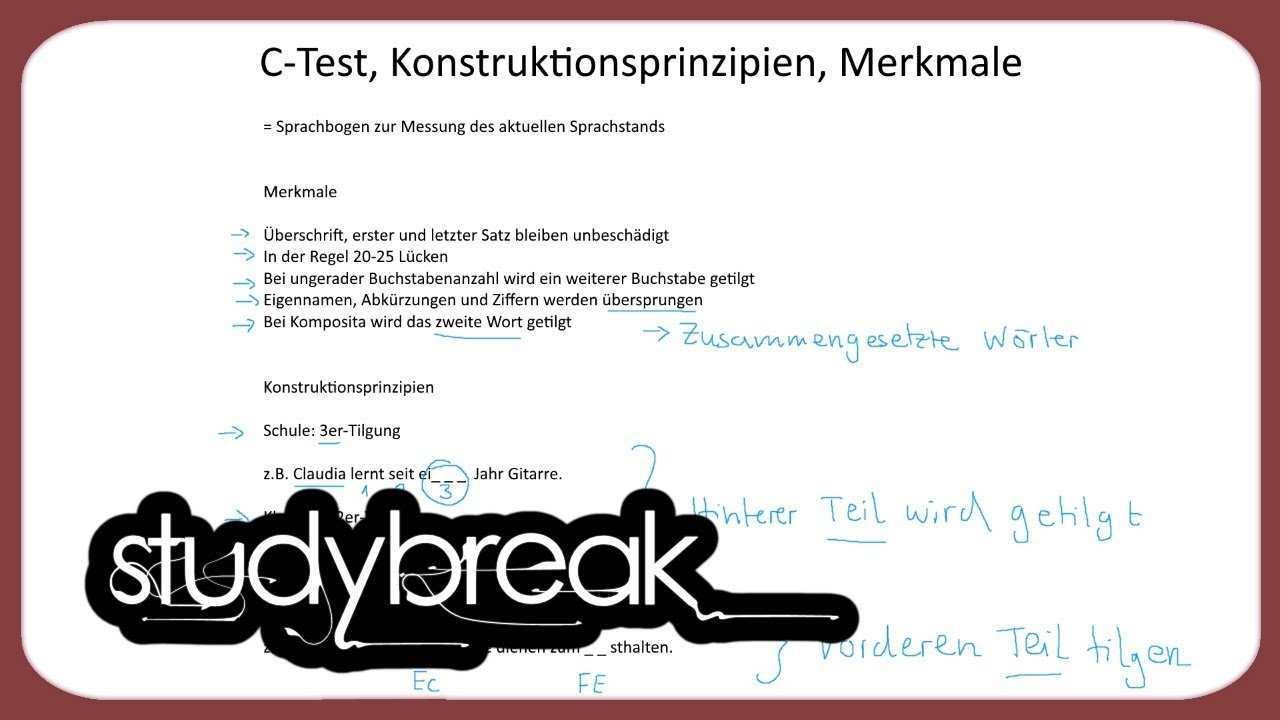 C Test Konstruktionsprinzipien Merkmale Deutsch Als Zweitsprache Youtube