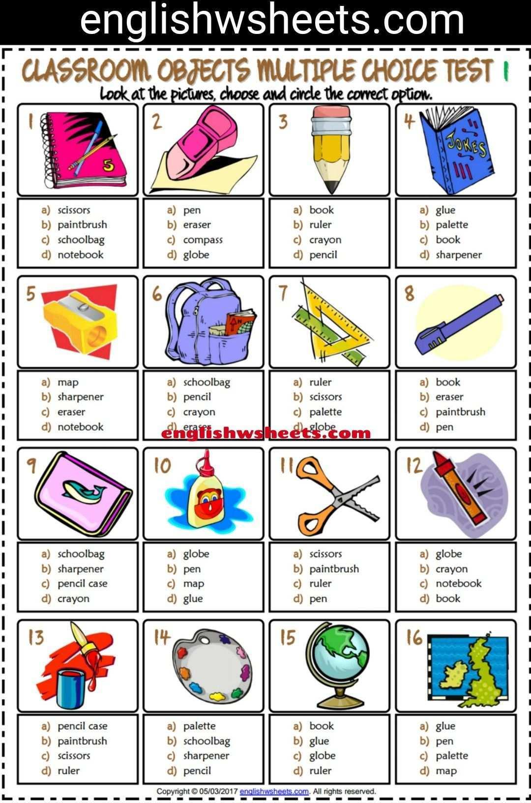 Classroom Objects Esl Printable Multiple Choice Tests For Kids Classroom Objects Esl Printab Learning English For Kids Classroom Language English Classroom