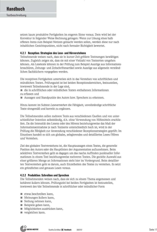 Goethe Zertifikat B2 Prufungsziele Testbeschreibung B1 B2 C1 C2 Pdf Free Download