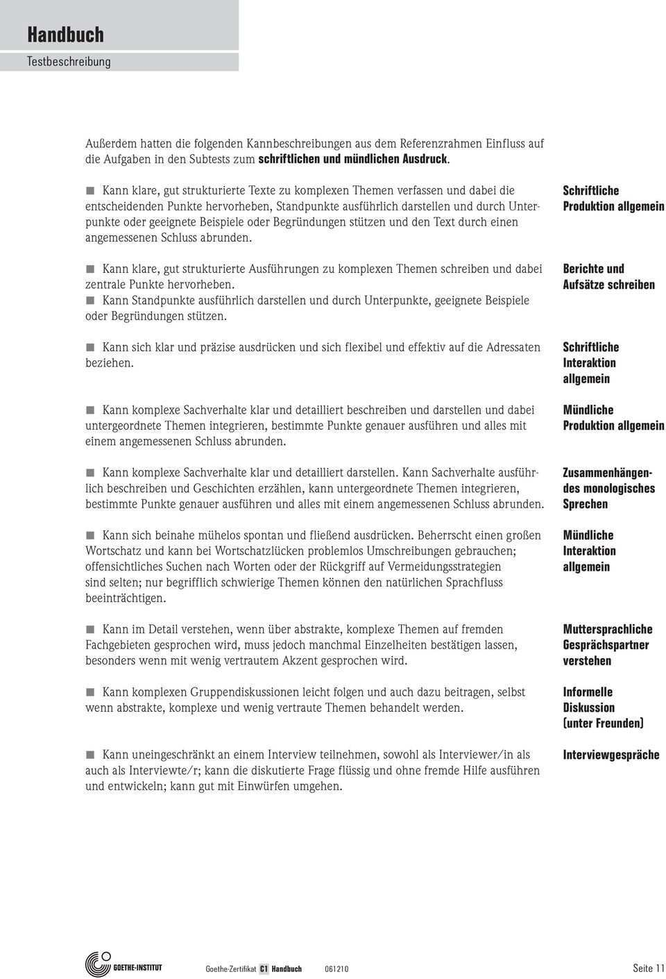 Goethe Zertifikat C1 Prufungsziele Testbeschreibung B1 B2 C1 C2 Pdf Free Download
