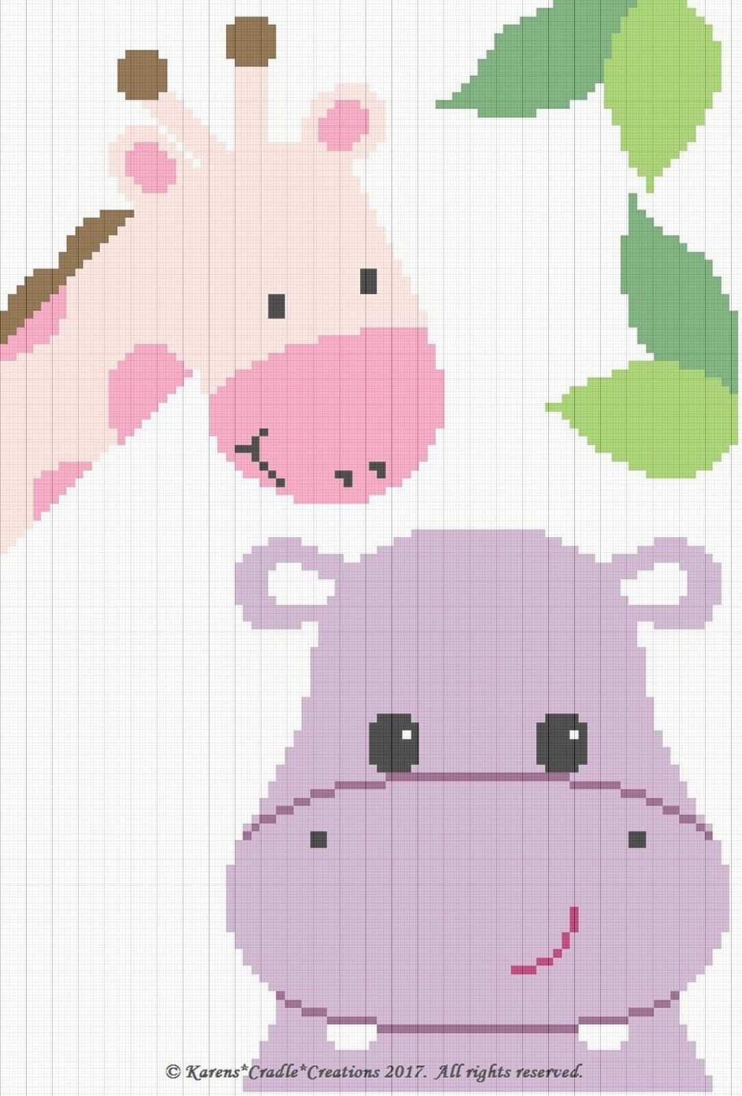 Crochet Patterns Hippo And Giraffe Color Graph Baby Girl Afghan Graph Pattern For Sale 6 00 See Photos C2c Hakeldecke Decke Stricken Hakeln C2c Hakeln