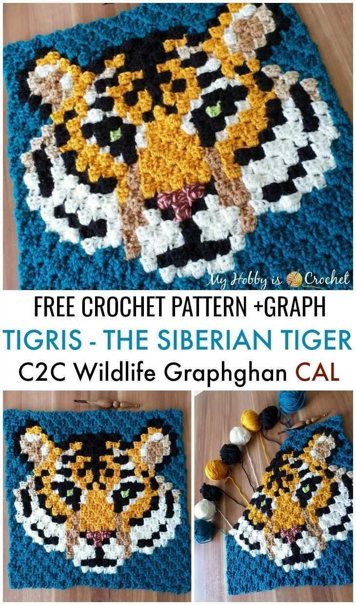 Tigris The Siberian Tiger C2c Square Free Cro C2c Cro Free Rideau Siberian Square Tiger Tigris Strickdecke Muster Kostenlos Hakeln C2c Hakeln