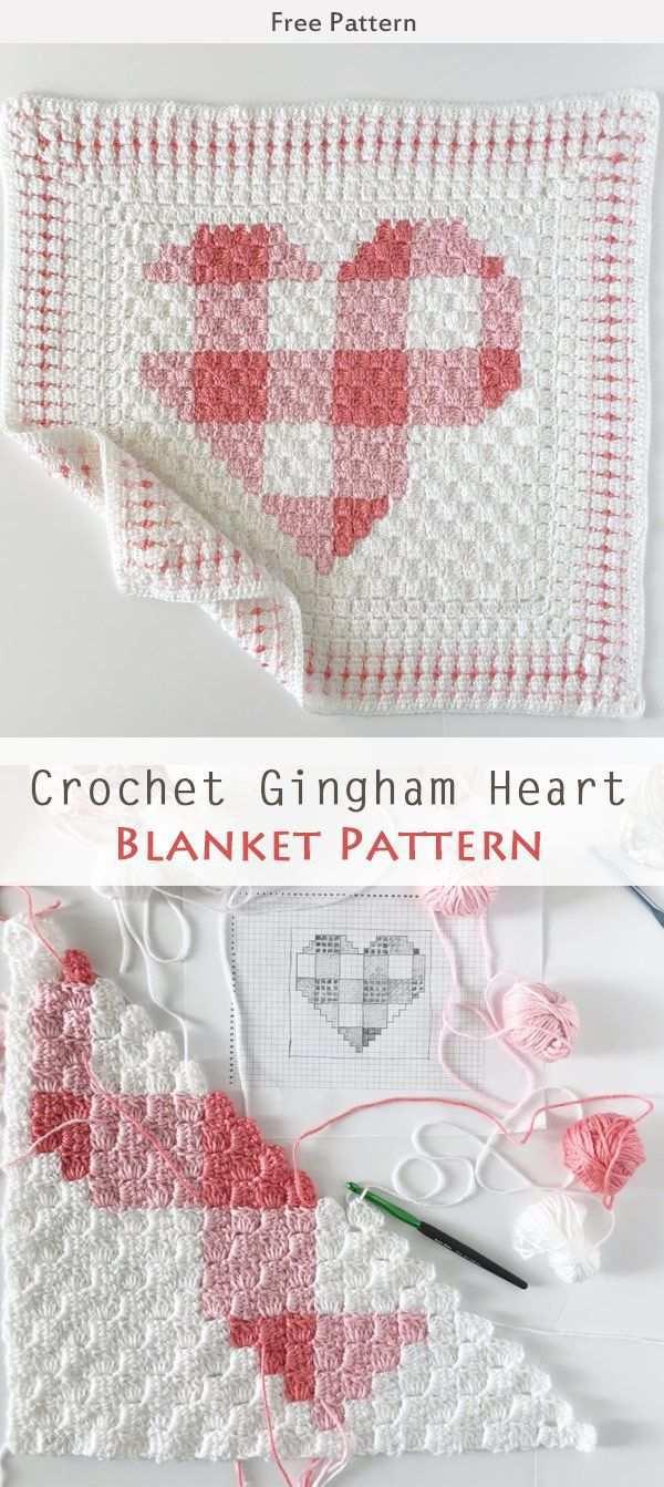 Crochet Gingham Heart Blanket Free Pattern C2c Hakeln Patchworkdecke Hakeln Und Diy Stricken Hakeln