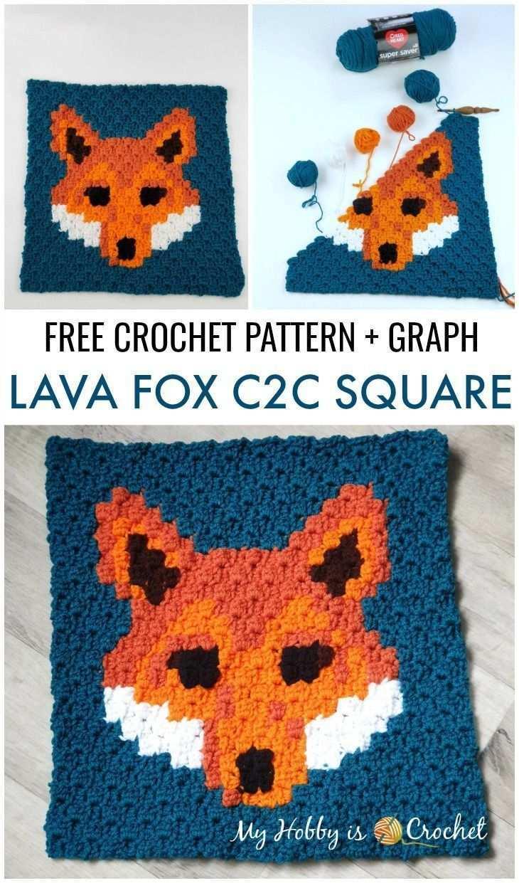 Free Crochet Pattern Lava Fox C2c Square Wildlife Graphghan Cal C2c Cal Crochet Fox Free Getstarted Fuchs Hakeln C2c Hakeln Decke Stricken Hakeln