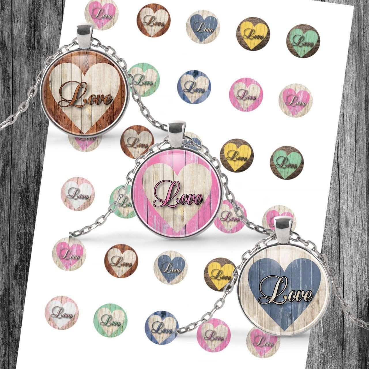 Cabochon Templates Digital Download Template Vintage Love Wood Collage For Jewelry Button Template For Cabochon Download 25 Mm 30 Mm 20 Mm Vintage Love Prints Vintage