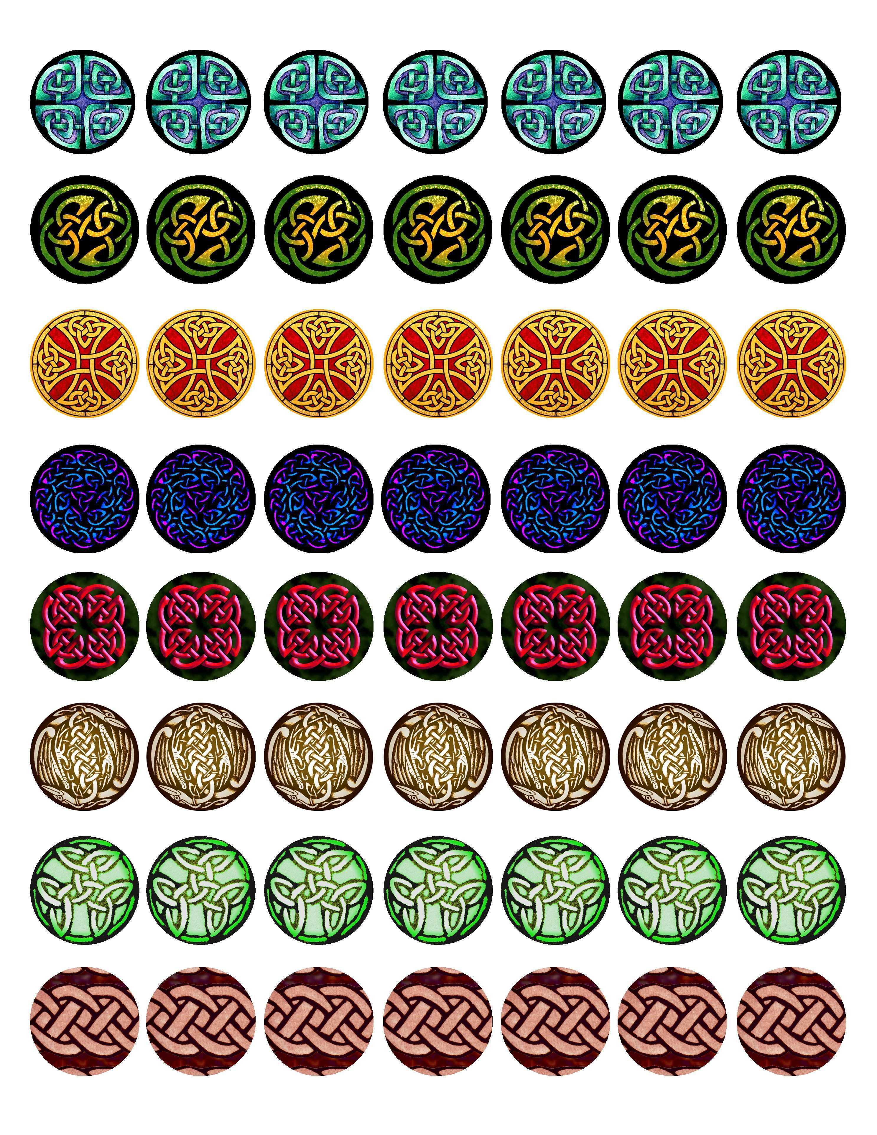 Free Bottle Cap Images Celtic Knot Work Full Sheet Collection 2 High Resolution Formatted For Printi Bottle Cap Jewelry Bottle Cap Crafts Bottle Cap Images
