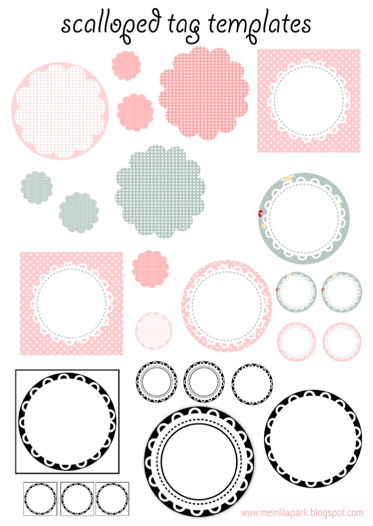 Free Printable Scalloped Tag Templates Muschelrand Etiketten Freebie Kostenlose Druckbare Etiketten