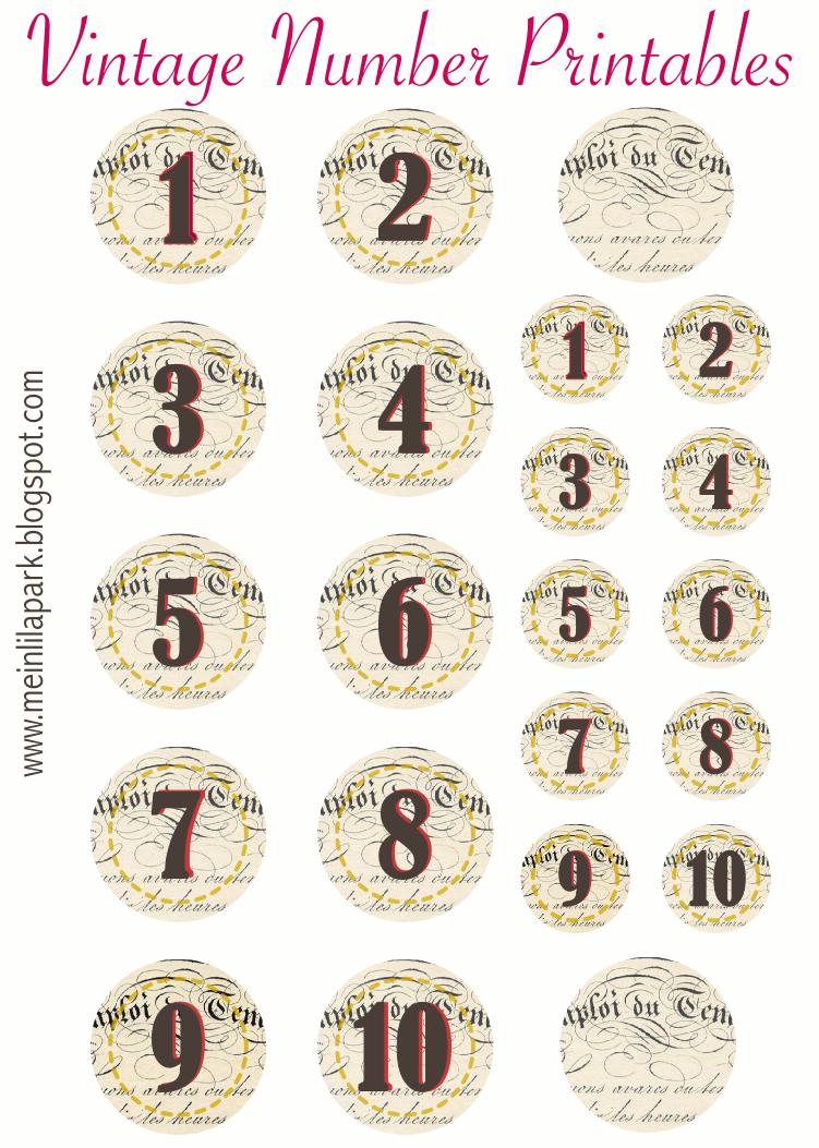 Free Printable Vintage Number Stickers Ausdruckbare Zahlen Freebie Vintage Printables Vintage Numbers Free Vintage Printables