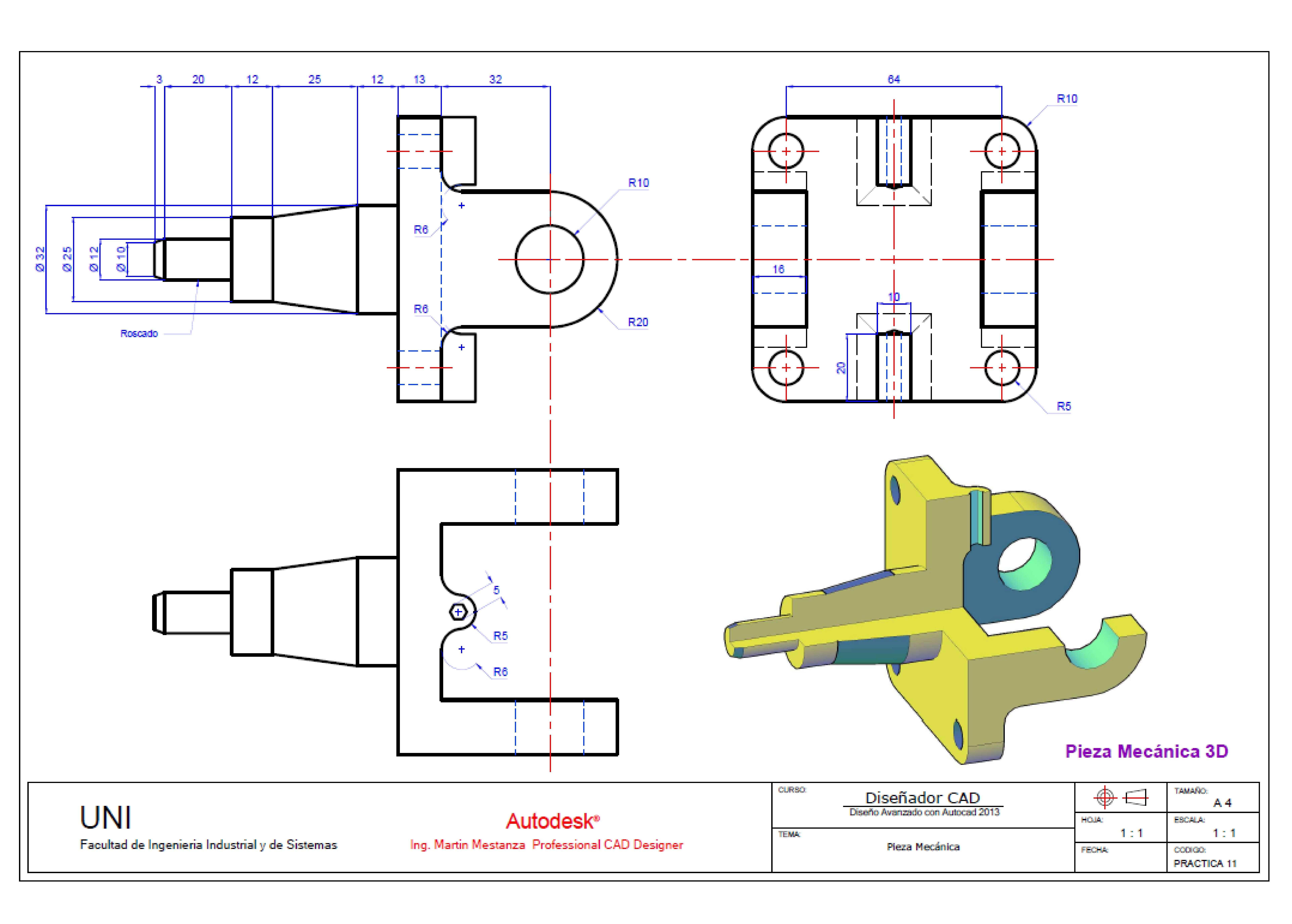 Practica Calificada Disegni 3d Disegno Tecnico Disegni