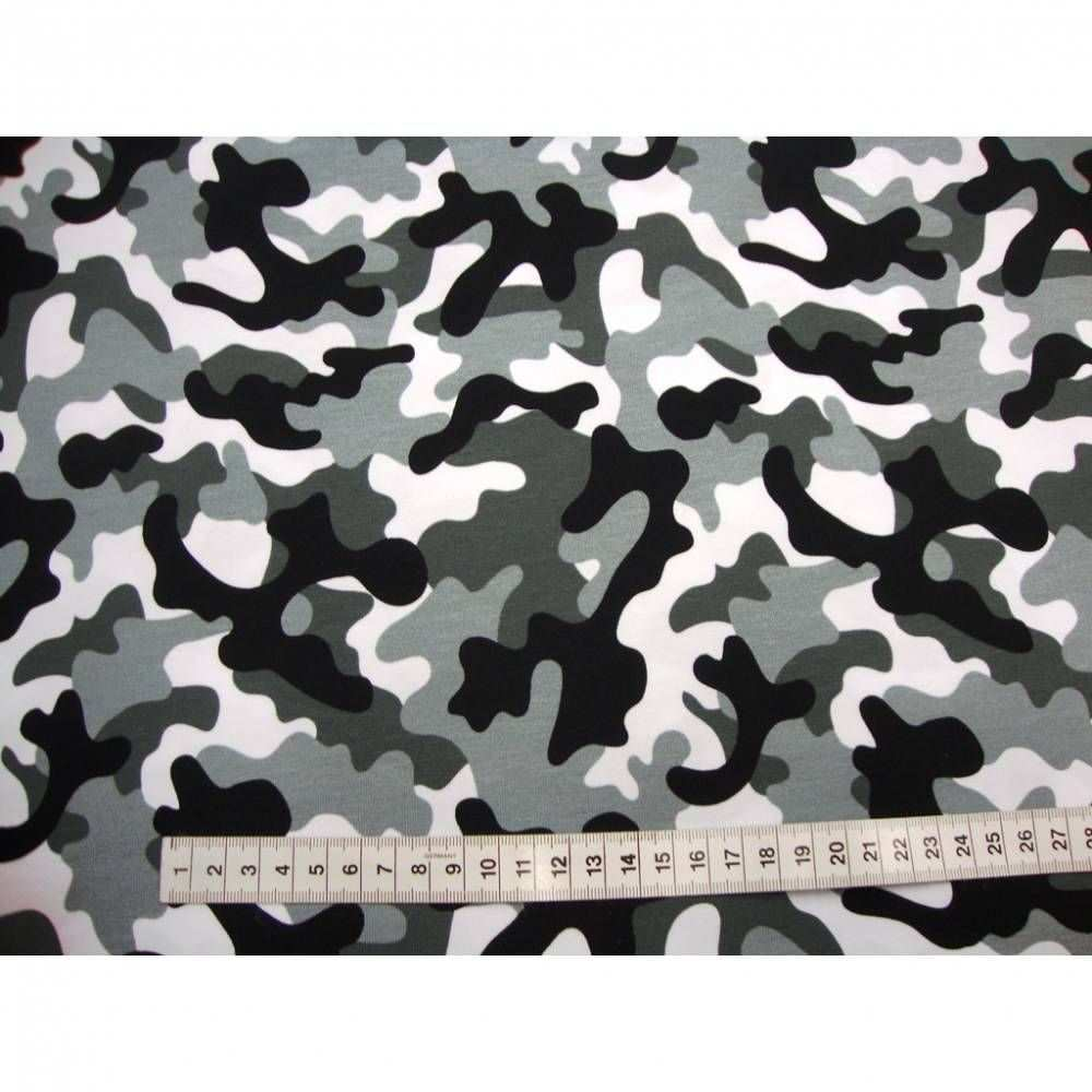 Baumwoll Jersey Camouflage Weiss Grau Schwarz Jerseystoff Tarnstoff Tarnfleck In 2020 Camouflage Stoff Fleck