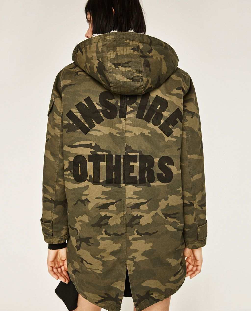 Zara Woman Camouflage Parka Do Not Like The Writing On The Back