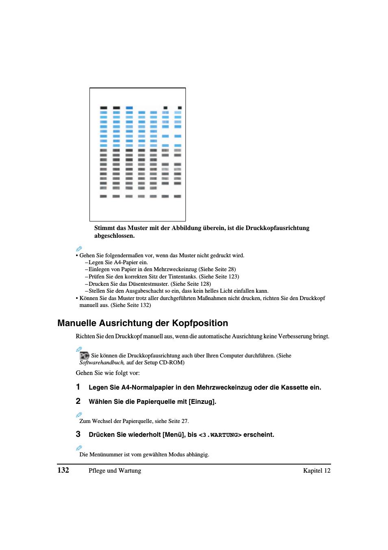 Manuelle Ausrichtung Der Kopfposition Canon Pixma Mp780 Benutzerhandbuch Seite 136 206