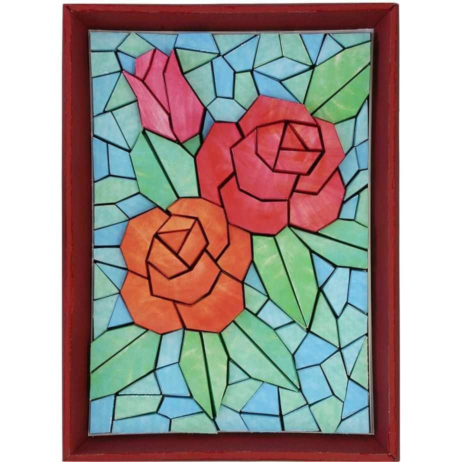 Stereopapiermosaik Rose Mosaik Design Kunst Kunst Inneneinrichtung Blume Dekoration Glasmalerei Rose Mosaikmuster Mosaik Rote Kunst
