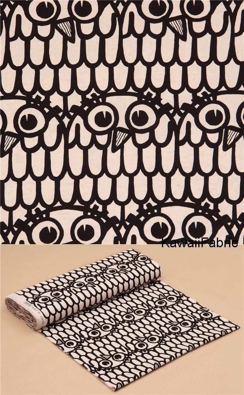 Pin Von Kawaii Fabric Shop Auf De Stoffe Leinengewebe Eulen Leinwand Japanische Stoffe
