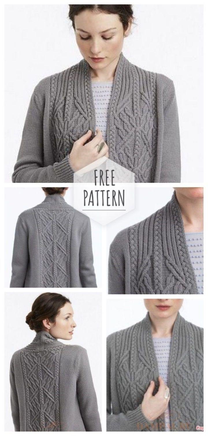 Women Cardigan With Aranas Free Pattern Womens Sweater Knitting Patterns Kostenlose Strickmuster Pullover Strickjacke Muster Stricken Designs
