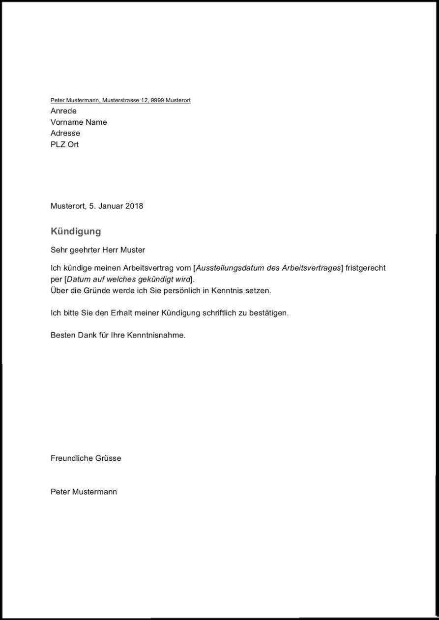 Unglaublich Kundigung Vorlage Arbeitnehmer Vorlagen Word Kundigung Schreiben Kundigung