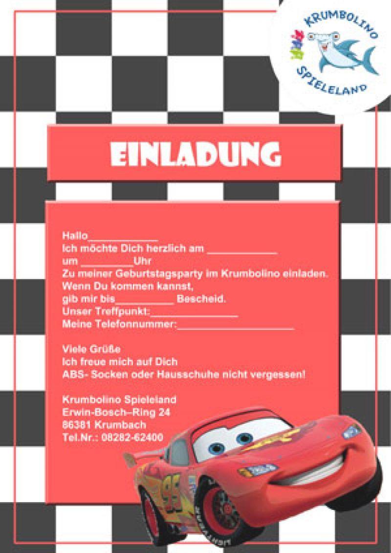 Einladung Cars Ausdrucken Geburtstag Einladung Party Cars Cars Einladungskarten Kindergeburtstag
