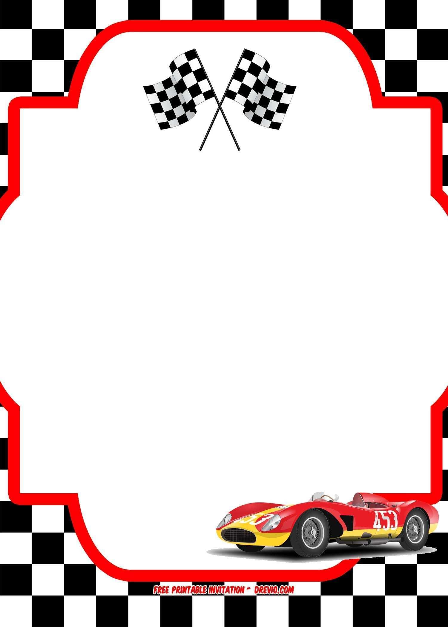 Free Race Car Birthday Invitation Template Printable Drevio Cars Birthday Invitations Cars Invitation Race Car Birthday