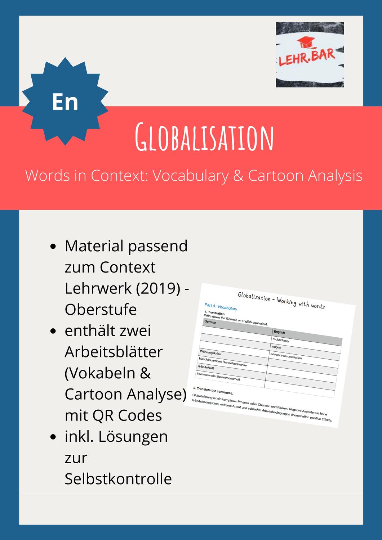 Globalisation Words In Context Cartoon Analysis The Words Englischunterricht Unterrichtsmaterial