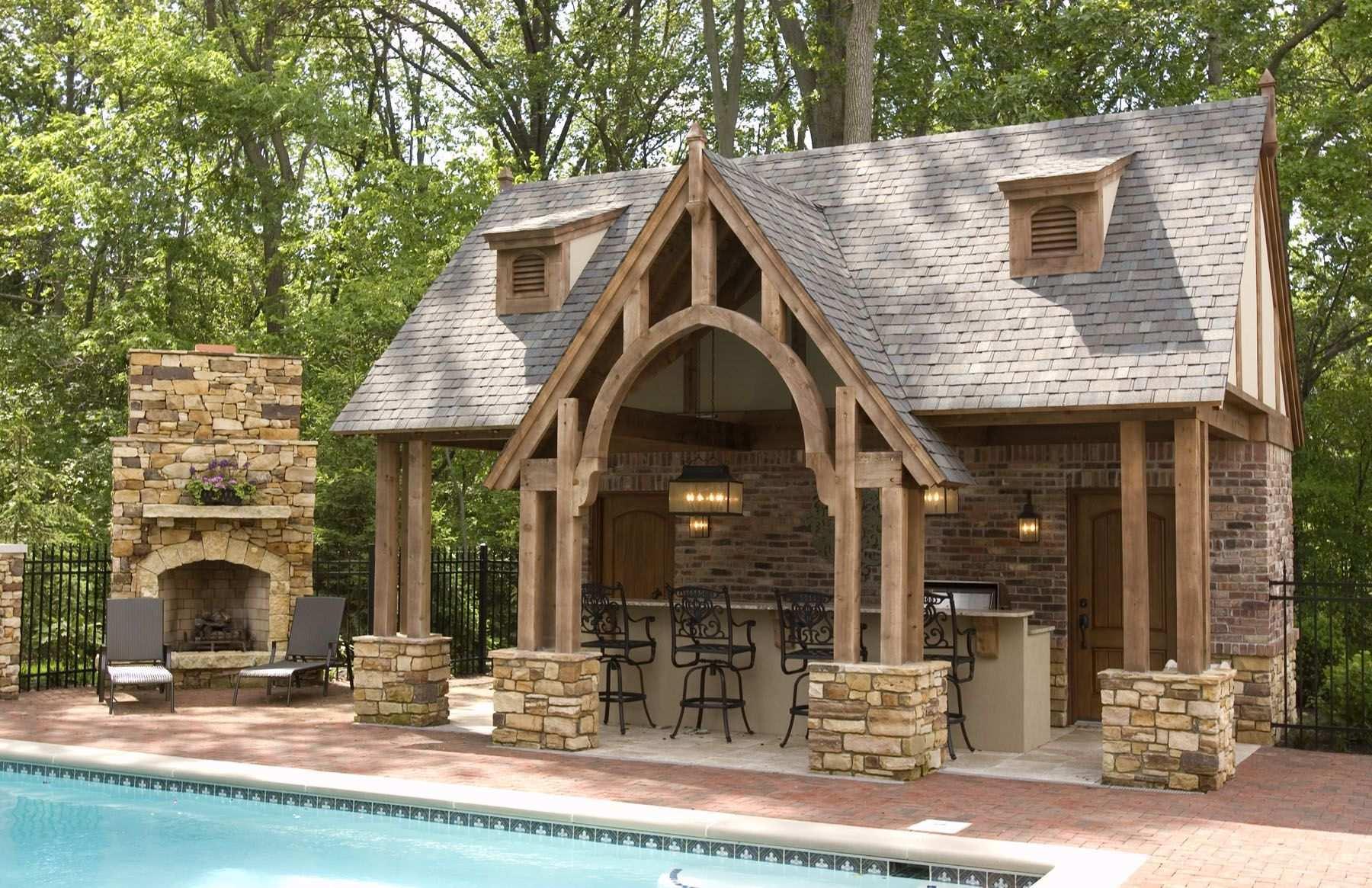 20 Gorgeous Poolside Outdoor Kitchen Designs In 2020 Rustic Outdoor Kitchens Pool House Plans Pool Houses
